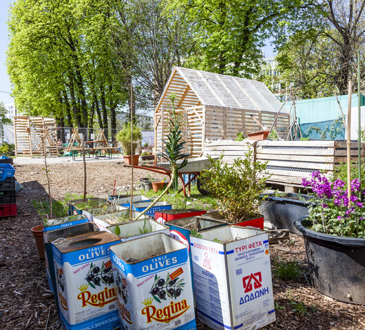 Im Vordergrund stehen mehrere Olivenölkanister, die zu Blumentöpfen umgebaut wurden. Im Hintergrund sind mehrere Hochbeete und Gartenhäuschen zu sehen.